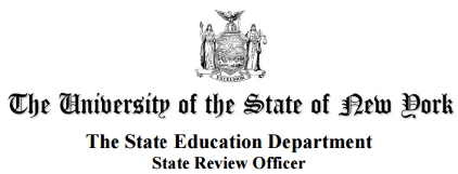 NYS seal logo with text The University of the State of New York. The State Education Department. State Review Officer